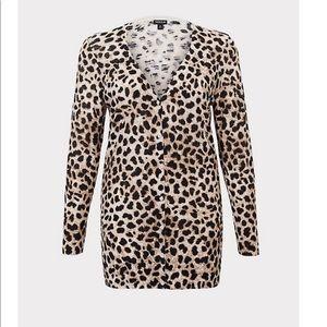 Torrid Longline Leopard Print Cardigan Sweater
